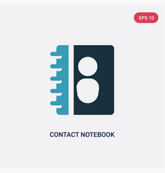 two color contact notebook icon from user vector image