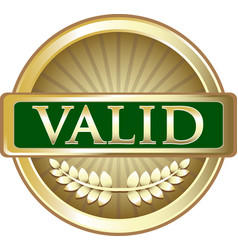 valid gold icon vector image