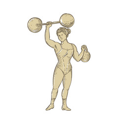 Vintage circus strongwoman female or lady vector