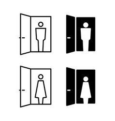 visitor icon person in a door frame silhouette vector image