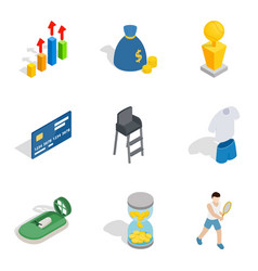 Vital success icons set isometric style vector