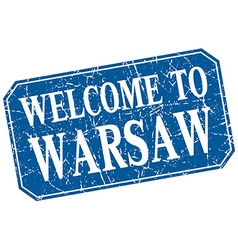 Welcome to warsaw blue square grunge stamp vector