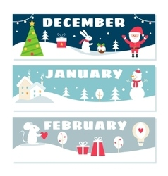 Winter Months Calendar Flashcards Set Nature vector image