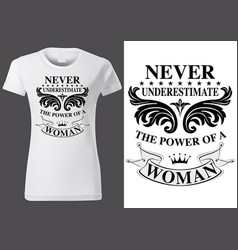 women white t-shirt design with inscriptions vector image