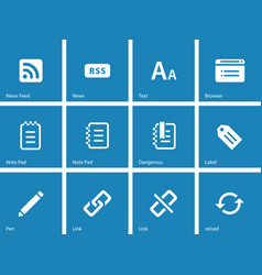 Blogger icons on blue background vector image