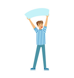 cheering football fan character in blue holding vector image vector image