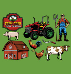 farming yard collection vector image vector image