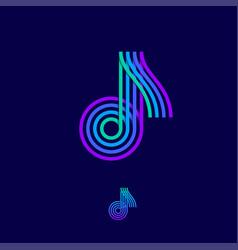 music multi colored logo note vector image