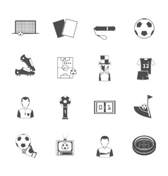 Soccer icons set black vector image vector image