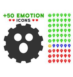 surprized smiley gear icon with bonus emotion vector image