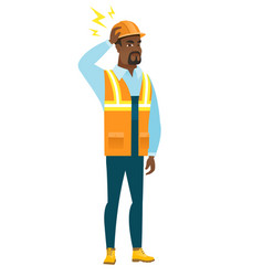 African builder with lightning over his head vector