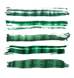 Green watercolor brush strokes vector image vector image