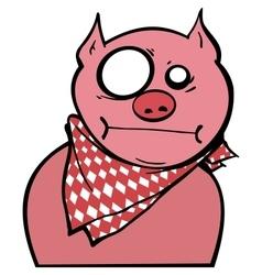 pink pig graffiti vector image
