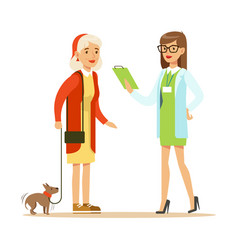 smiling woman and her small dog at the veterinary vector image