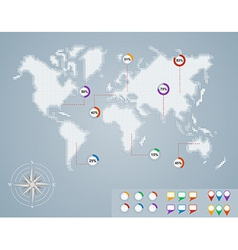 World map circle percentage infographics EPS10 vector image vector image