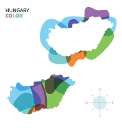 Abstract color map of Hungary vector image vector image