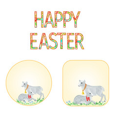 banner happy easter lamb and sheep vector image