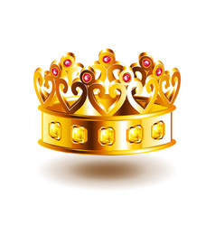 crown with patterns isolated on white vector image