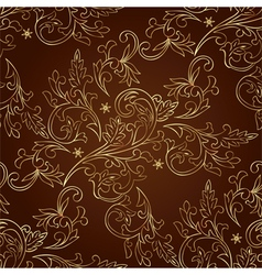 Floral vintage seamless pattern on brown backgroun vector image