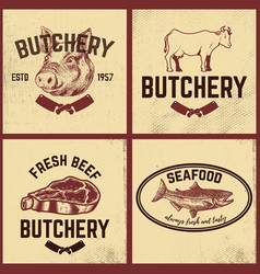 set of butchery meat store seafood posters set vector image vector image