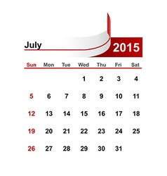simple calendar 2015 year july month vector image vector image