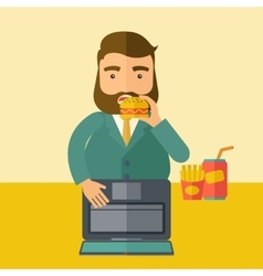 Young fat guy eating while at work vector image