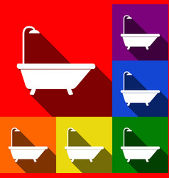 bathtub sign set of icons with flat vector image vector image