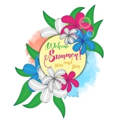 summer party poster with vintage floral bouquet vector image vector image