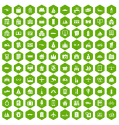 100 property icons hexagon green vector image