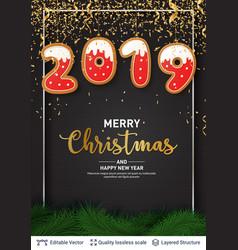 2019 number of gingerbread cookies on dark banner vector