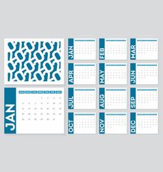 2020 calendar template set 12 months calendar vector image