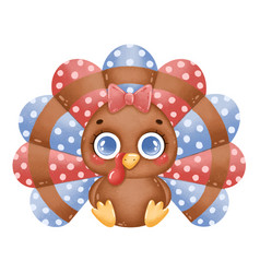 a cute cartoon turkey girl vector image