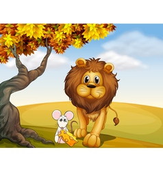 A lion and a mouse vector image