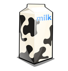 a single carton milk with words and black vector image