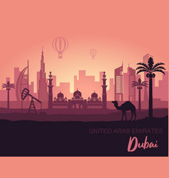 Abstract dubai city landscape with sunset vector