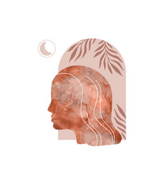 Abstract woman profile portrait with spiritual vector