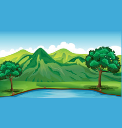 background scene with green mountain and pond vector image
