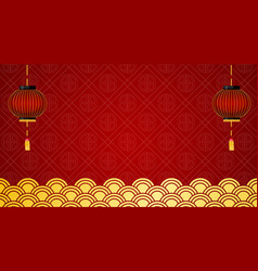 background template with red lanterns and chinese vector image