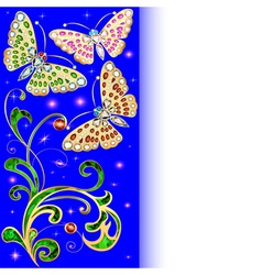 background with butterflies and ornaments vector image