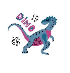 baprint with dino elaphrosaurus hand drawn vector image