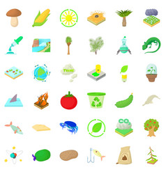 Biology in nature icons set cartoon style vector