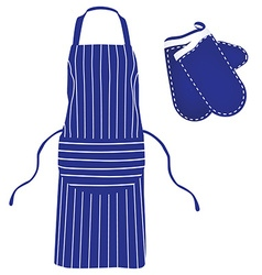 Blue apron and mittens vector image