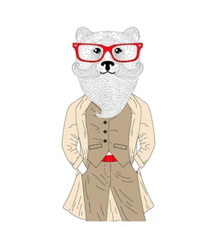 brutal bear in elegant classic suit with coat Hand vector image