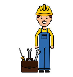 builder worker with helmet with toolbox vector image
