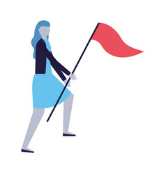 business woman holding flag vector image