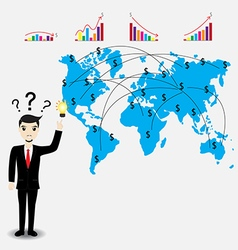 Businessman thinking work plan vector image