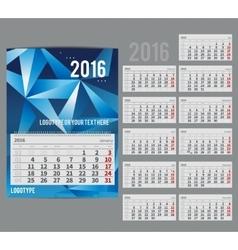 calendar 2016 - Planner for month vector image
