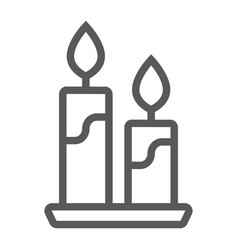 Candle line icon flame and spirituality vector