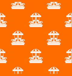 Carousel with horses pattern seamless vector