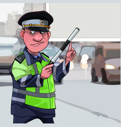 Cartoon male traffic inspector points finger at a vector